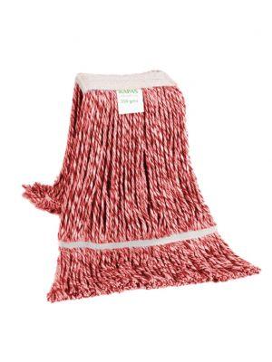 Strengenmop gekleurd katoen rood/wit met band en geluste strengen, 350 gram