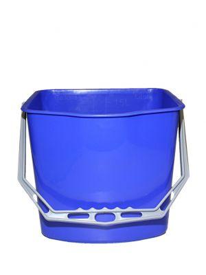Emmer 15 L blauw voor kunststof materiaalwagen.