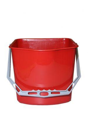 Emmer 15 L rood voor kunststof materiaalwagen
