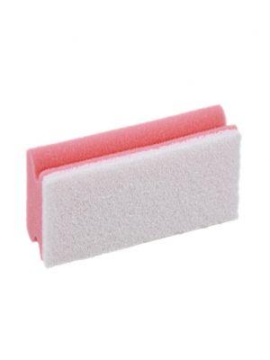 Spons roze met greep en witte pad (5st)
