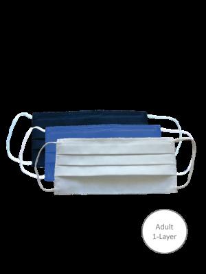 Mondmasker wasbaar, 1 laags 100% Oeko-tex katoen, wit (volwassenen)