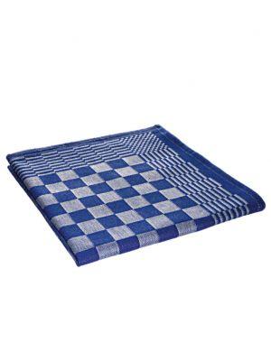 Theedoek of keukendoek blauw/wit geblokt 70x70cm 105 gram