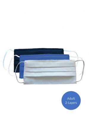 Mondmasker wasbaar, 2 laags 100% Oeko-tex katoen, blauw (volwassenen)